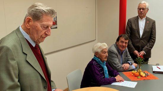 Otto Graeber, Frieda Riegel, Wolfgang Jüttner und Klaus Kaiser beim 25-jährigen Jubiläum der SPD-AG 60plus in Hannover