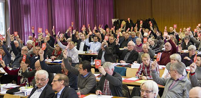 Die Delegierten bei einer der zahlreichen Abstimmungen