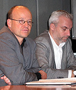 Links im Bild Günter Lenz. Rechts neben ihm Garrelt Duin