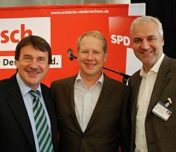 Wolfgang Jüttner, Stefan Schostok und Garrelt Duin