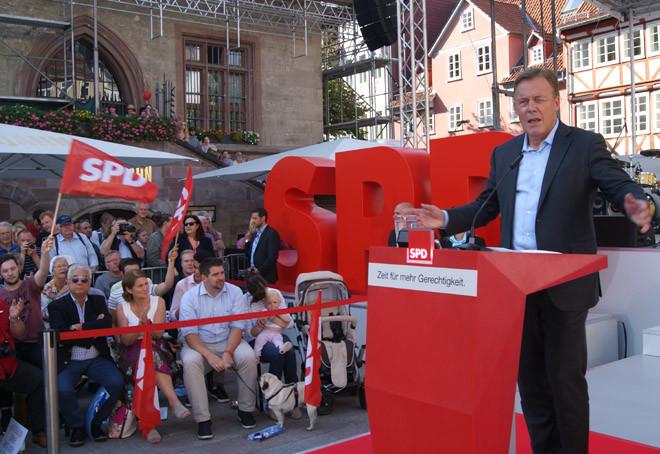 Thomas Oppermann freute sich sehr über den Besuch von Kanzlerkandidat Martin Schulz in seinem Wahlkreis Göttingen.